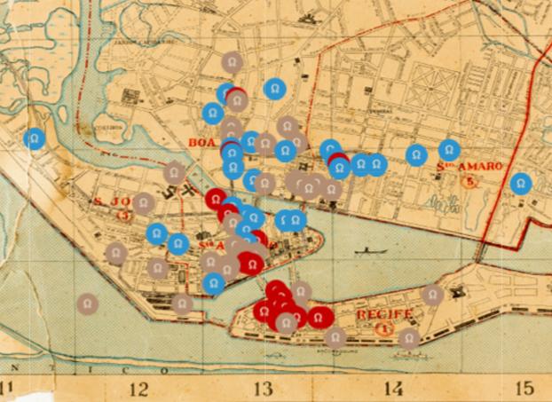 Cartografias sobrepostas do Recife do Obscuro Fichário: nomadismos, delícias e artes. Acesse a cartografia.